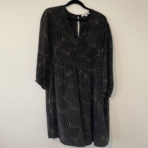 NWOT Amour Vert 100% Silk Printed Babydoll Dress L